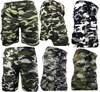 Mens Army Camouflage Cargo Elasticated Shorts Cotton Combat Half Pants Bottoms