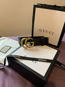 GUCCI GG Marmont Black Leather Belt Double G Gold Buckle 80cm
