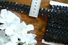 SEQUIN Braid Nylon Rayon Lace Edge BLACK 28mm wide 3 Metre Length Sunrise 1571