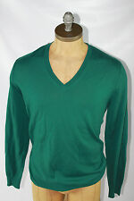 AUTH Burberry Brit Men Green 100% Wool V Neck Sweater L