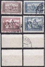 CSSR Tschechoslowakei Nr. 330-331 u. 336-337, gestempelt Hymne u. Schlacht Arras