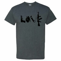 Love Guns on a Dark Heather T Shirt