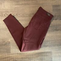 AG Adriano Goldschmied Womens Size 30 Burgundy Legging Ankle Pants