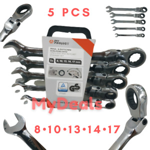 Set 5pcs 8-17mm - Flexible Head Ratchet Spanner Gear Open End Ring Wrenches Tool
