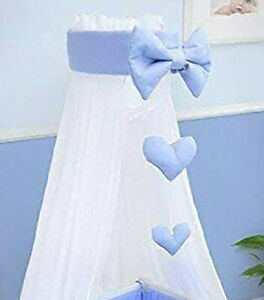 Baby Drape Canopy Mosquito Net with Ribbon ONLY Fits Crib/Cradle Blue