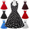 New Women Polka Dots 50's Halter Vintage Swing Ball Cocktail Evening Party Dress
