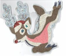 Chenille and Sequin Patch: Reindeer