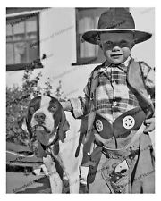 1940s era vintage photo-Little boy and dog-cowboy hat-six shooter-chaps-8x10 in