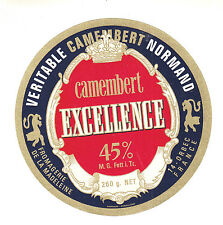 Etiquette de Fromage Ancienne  Camembert  Excellence   No 301