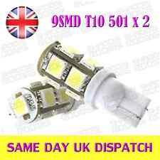 9 LED SMD T10 W5W 501 lampadine ultra bianco (coppia)