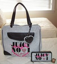 NWT Juicy Couture LOVE PLUMES Velour Tote Bag & Wallet Set HEATHER COZY GRAY