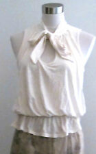 Ivory off white cream VICTORIAS SECRET bra top blouse w/ pussy bow detail S M 6