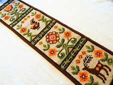 Vintage Hand Crafted Needlepoint Pull Runner Wall-Hanging Scandinavian Folklore