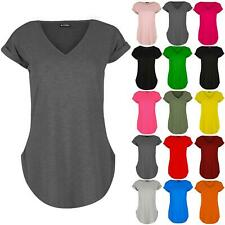 Womens Ladies Plain V Neck Turn Up Curved Hem Jersey Cap Sleeve T Shirt Tee Top