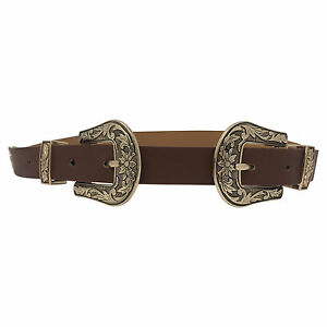 Womens Double Buckle Thick Quality Faux Leather Western Belt Ladies Waist Band