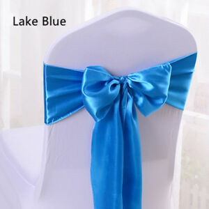 Satin Chair Sashes Bow Sash Tie Cover Ribbon Wedding Banquet Party Decorations