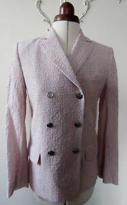 French Street Style /& Classic Preppy Chic Flawless Couture Lg Signature GOLD Buttons 90s SONIA RYKIEL Pink Blazer Pleated Chevron Jacket