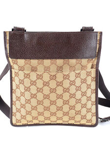 GUCCI GG Canvas Leather 27639 Shoulder Cross Body Bag Brown Beige Dustbag