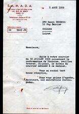 """PARIS (XII°) PRODUITS ALIMENTAIRES & VINS """"S.A.M.A.D.A."""" en 1959"""