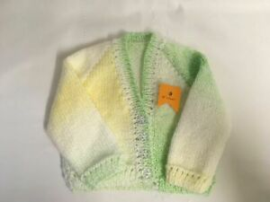 "Gorgeous Handmade In Cornwall Knitted Baby Cardigan Approx Age 3-6mths 18"" Chest"