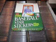 1986 Fleer Baseball Star Sticker Wax Box 36 Packs from a sealed Case
