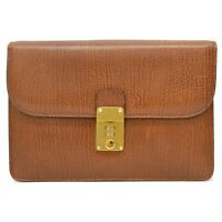 Authentic Bally Leather Clutch Second Hand Bag Brown Gold Italy