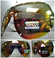 HUGE OVERSIZE VINTAGE RETRO SHIELD Style SUN GLASSES Gold Mirror Polarized Lens