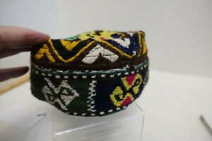 3R-1 EMBROIDERED AND HAND KNIT TRIBAL TYPE CAP PILLBOX HAT, small size
