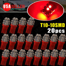 20x Pure Red T10 10-SMD Wedge LED Bulbs Map Door Dome Interior Instrument Lights