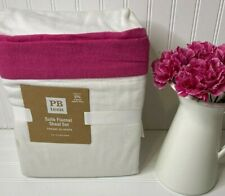 Pottery Barn Teen SUITE FLANNEL SHEET SET FULL White and Bright Pink ISSUES
