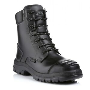 Safety Boot Safety footwear, Black Goliath Combat Boot ODR Scuff Cap and Midsole