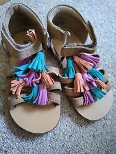 Girls Leather/Suede Tassle Front Summer Sandals Size 8 UK Infant GUC