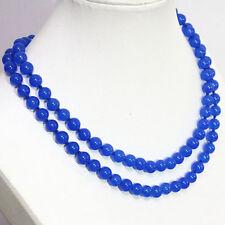 "10mm blue sapphire jade round beads women necklace 48"" hot"