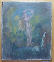 Anonymer Spanisch Der '900 Altes Bild Akt Malerei Öl Auf Leinwand Vintage MD7