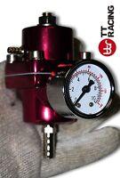 Universal Adjustable Fuel Pressure Regulator Kit w/ Gauge EVO FTO GTO Red