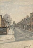 ROBERT STANDISH-SWEENEY Watercolour Painting TERRACED STREET LEEDS 1947