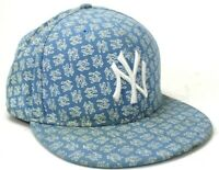 MLB New York Yankees 59Fifty Hat, Fitted Size 8 Flat Brim New Era Blue All over