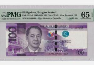 2018 PHILIPPINES 100 Piso PMG65 EPQ GEM UNC @ Solid No. 888888 {P-222d}