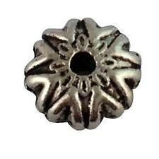 50PCS Tibetan Silver Star Flat Round Beads T16467