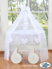 My Sweet Baby - Deluxe White Drape Heart Wicker Crib - White