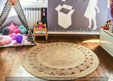 RUG ROUND Natural JUTE Reversible Vintage 5x5 Feet NATURAL HANDMADE HEMP CARPET