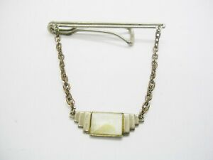 Vintage Art Deco Tie Chain with Mother of Pearl Guard classic Necktie Accessory