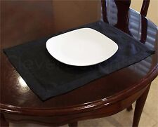 "6 Pack - Hemstitched Placemats - 14"" x 20"" - Black - Easy Care Washable"