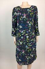 J. Jill Women's Floral Dress Small Tall Blue Multicolor 3/4 sleeve Summer H19
