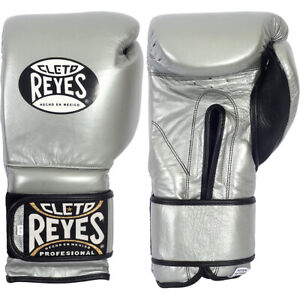 Cleto Reyes Hook and Loop Leather Training Boxing Gloves - Silver
