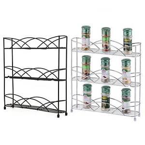 Kitchen Storage Cupboard 3 Tier Table Top Free Standing Spice Rack Jar Holder