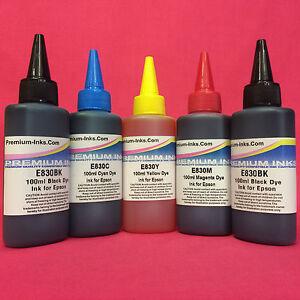 5 Ink Refill Bottles For Epson Expression Premium XP710 XP715 XP 710 715 Printer