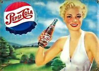 PLAQUE METAL publicitaire vintage PEPSI COLA PIN UP - 40 X 30 cm