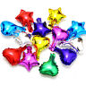 "4pk -  24cm 10"" / 12cm 5"" FOIL METALLIC HELIUM Hearts Star Shaped Balloons Kids"