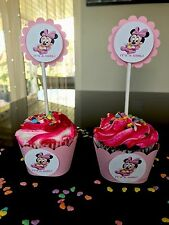 30 BABY MINNIE MOUSE IT'S A GIRL 15Cupcake Toppers And 15 Wrappers Baby Shower.